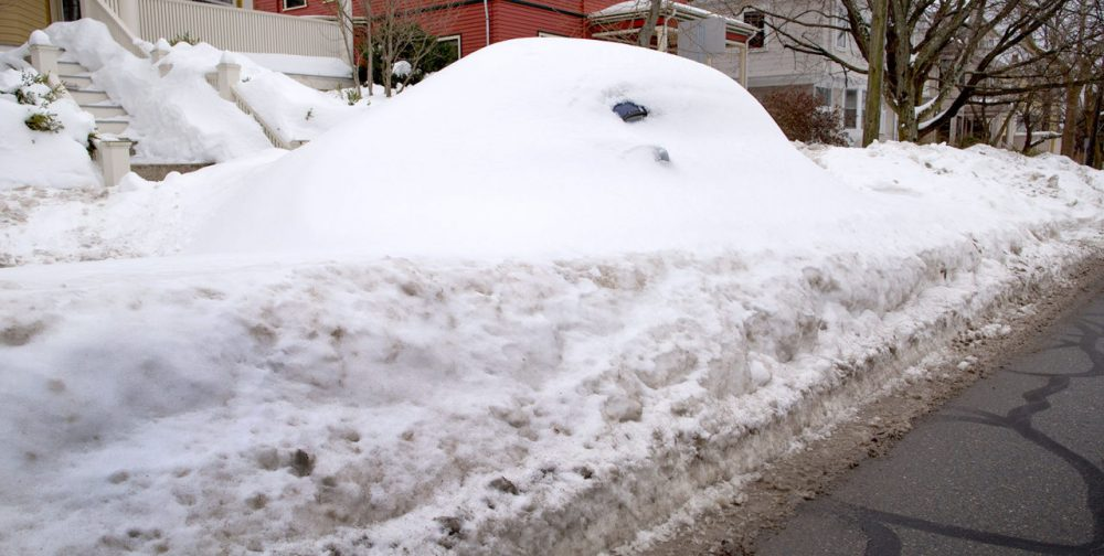 That a car under there? A car is buried in snow on Upland Road in Cambridge on Feb. 7. (Robin Lubbock/WBUR)