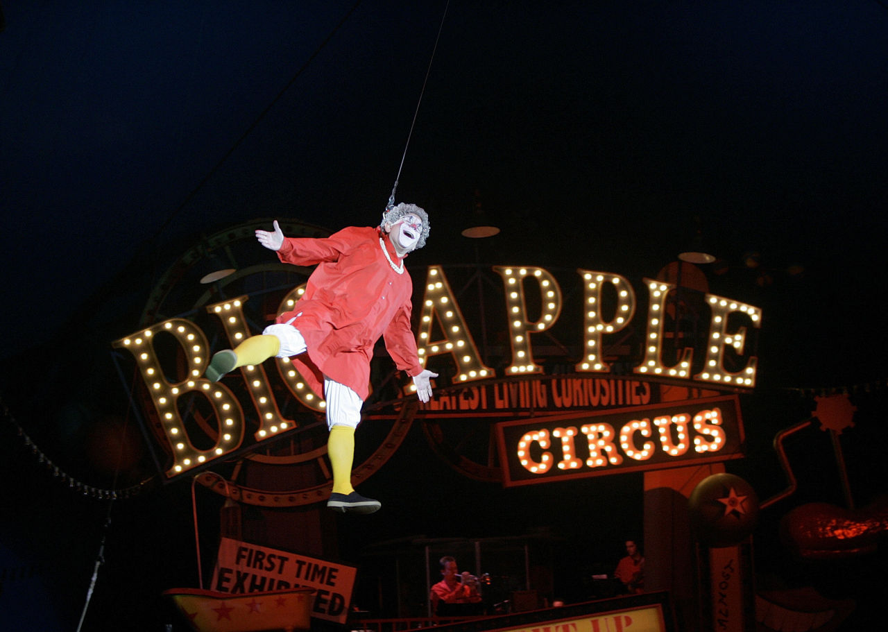"""Barry Lubin, as """" Grandma,"""" performs in the Big Apple Circus at City Hall Plaza in Boston Thursday. (Chitose Suzuki/AP)"""