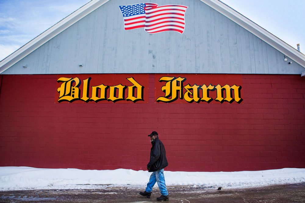 Tom Peyton, Blood Farm's plant manager, walks in front of the newly built processing facility in Groton. A fire in December 2013 destroyed the business that has been staffed by seven generations of Bloods. After the fire, the community of Groton joined with the local meat industry to urge the family to rebuild. (Jesse Costa/WBUR)