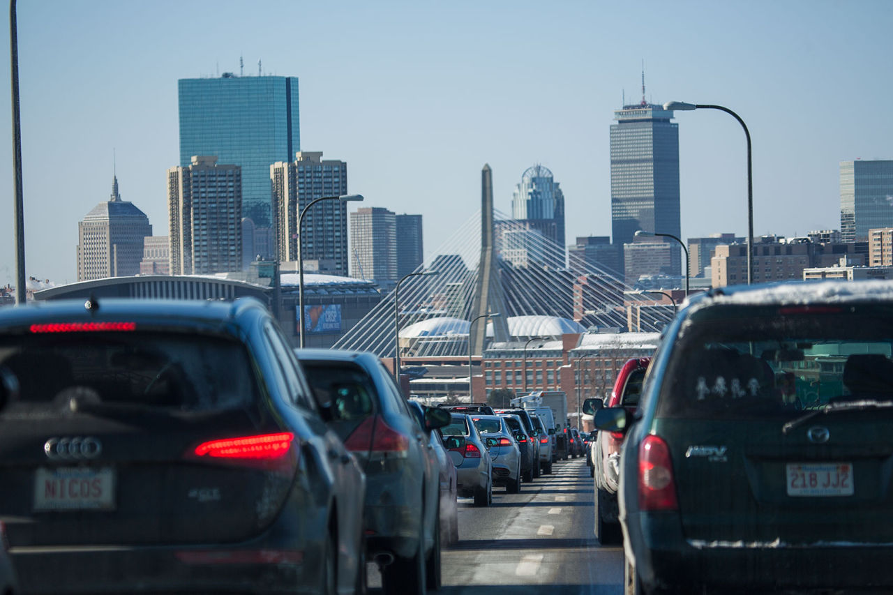 About 45 percent of carbon emissions in Massachusetts come from transportation, and the biggest component of that is personal vehicles. (Jesse Costa/WBUR)