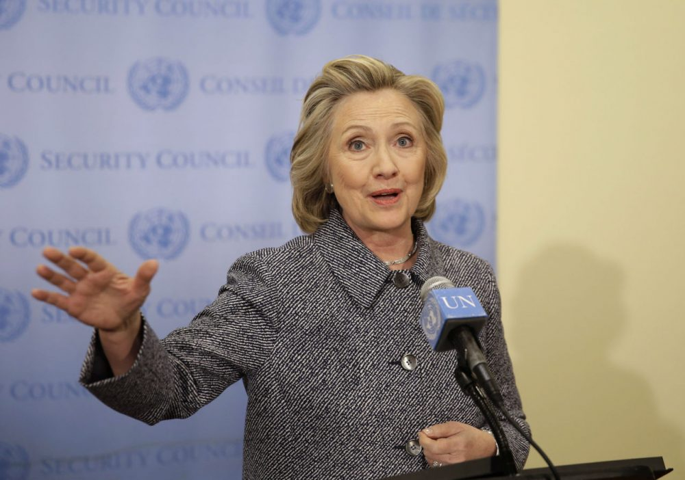 """Hillary Clinton speaks to reporters at United Nations headquarters on Tuesday. She conceded that she should have used a government email to conduct business as secretary of state, saying her decision to use a private account was simply a matter of """"convenience."""" (Seth Wenig/AP)"""