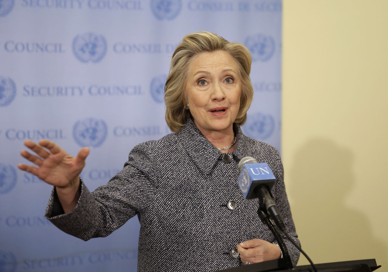 "Hillary Clinton speaks to reporters at United Nations headquarters on Tuesday. She conceded that she should have used a government email to conduct business as secretary of state, saying her decision to use a private account was simply a matter of ""convenience."" (Seth Wenig/AP)"