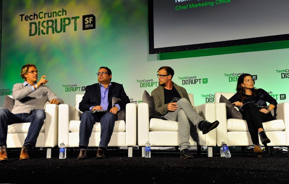 Participants at the tech conference TechCrunch Disrupt 2014 in San Francisco, California.  Silicon Valley entrepreneur Andrew Keen is critical of how the Internet has created a Silicon Valley elite. (Steve Jennings/Getty Images for TechCrunch)