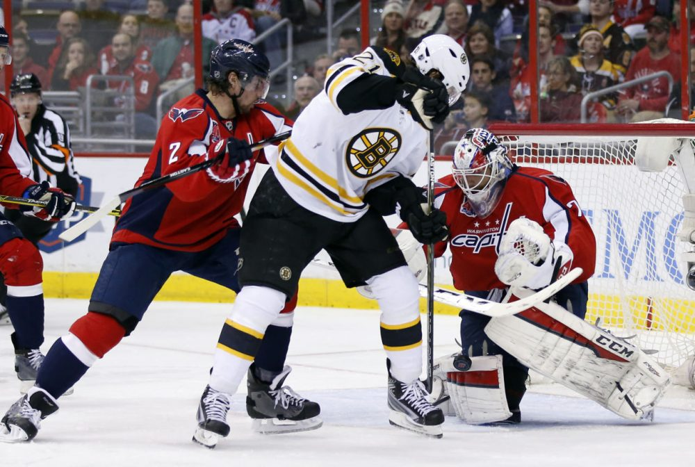 Washington Capitals defenseman Matt Niskanen (2) works against Bruins left wing Loui Eriksson (21), from Sweden, with goalie Braden Holtby (70) in the second period. (AP/Alex Brandon)