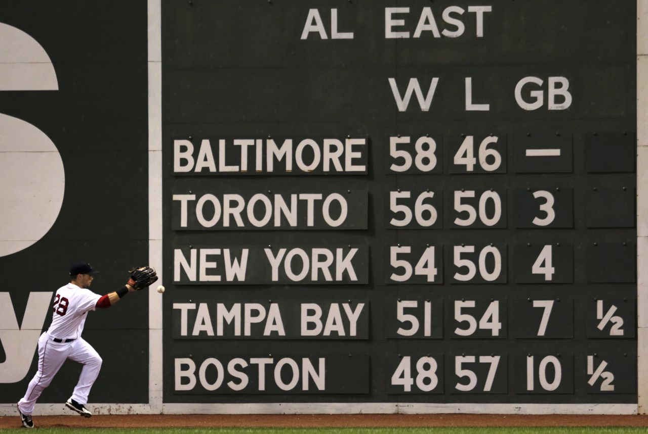 Boston Red Sox left fielder Daniel Nava plays a single off the AL East standings scoreboard, with the Red Sox posted in last place in the division during a game at Fenway Park in Boston on July 28, 2014. (Charles Krupa/AP)
