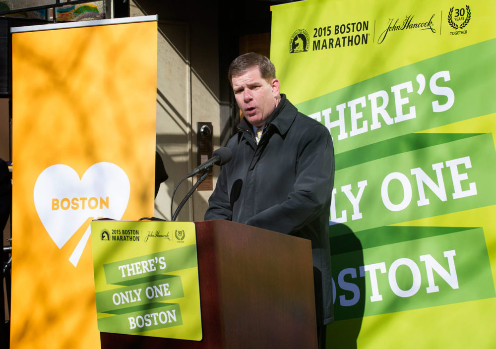 "Boston Mayor Marty Walsh announced Thursday that the anniversary of the Boston Marathon bombings on April 15 will now be ""One Boston Day."" (Robin Lubbock/WBUR)"