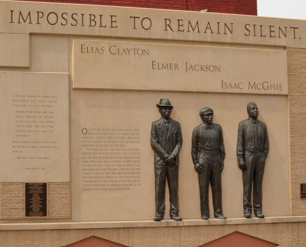 A memorial to three lynching victims in Duluth, Minn. The discovery of a black man hanging from a tree in rural Mississippi has raised the specter of lynching. Authorities have not yet determined the cause of death, but are actively investigating. (artstuffmatters/Flickr)