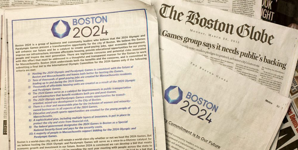 Boston 2024 took out full page ads in the Boston Globe and Boston Herald Monday, vowing to not move forward with the bid unless certain criteria are met, including majority support. (Robin Lubbock/WBUR)