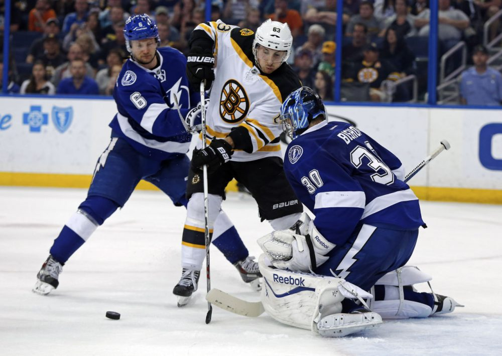 Tampa Bay Lightning goalie Ben Bishop makes a save against Boston Bruins' Brad Marchand as he is defended by Anton Stralman (6), of Sweden, during the third period of Sunday's game in Tampa. (Mike Carlson/AP)