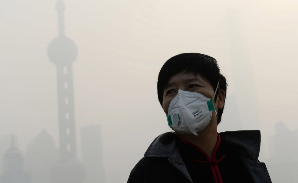 A man wears a mask amid heavy smog on the Bund in Shanghai on November 12, 2014. (AFP/Getty Images)