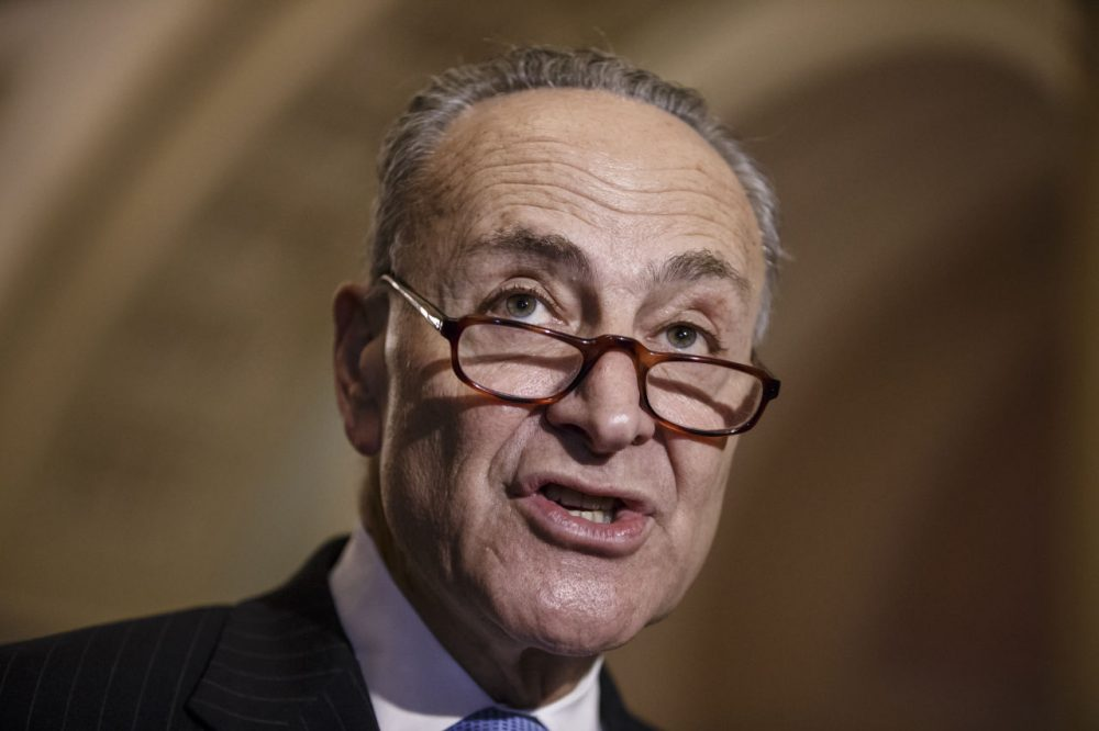 Sen. Chuck Schumer, D-N.Y., and Democratic leaders meet with reporters after Republicans gave up on their quest to stop funding for the Homeland Security Department unless it contained roll backs to counter President Barack Obama's executive actions on immigration, at the Capitol in Washington, Tuesday, March 3, 2015. (J. Scott Applewhite/AP)