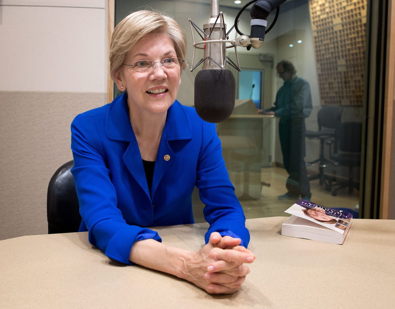 U.S. Sen. Elizabeth Warren at WBUR Monday (Robin Lubbock/WBUR)