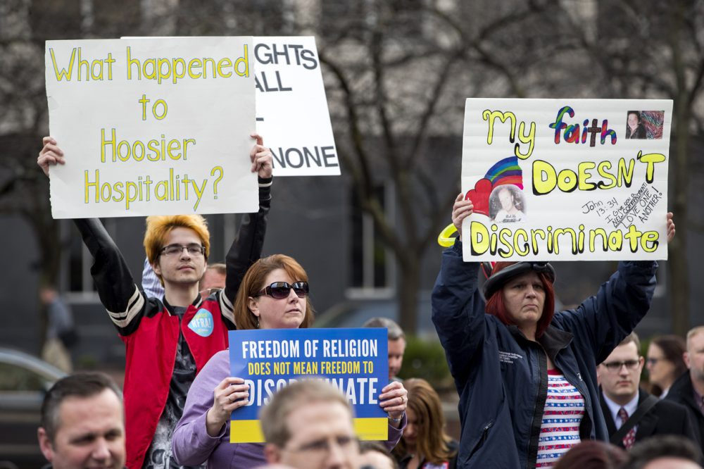Demonstrators  gather outside the City County Building on March 30, 2015 in Indianapolis, Indiana. The group called on the state house to roll back the controversial Religious Freedom Restoration Act, which critics say can be used to discriminate against gays and lesbians.   (Aaron P. Bernstein/Getty Images)