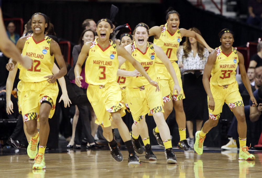 Maryland players celebrate after their win over Tennessee. (Young Kwak/AP)