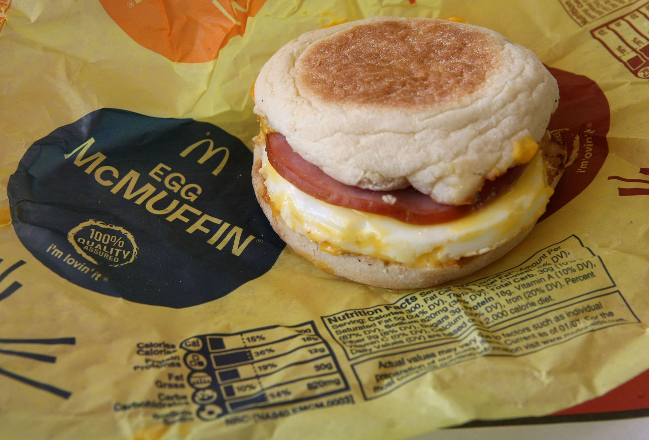 Nutritional information is printed on the wrapper of a McDonald's Egg McMuffin October 1, 2008 in San Rafael, California. (Justin Sullivan/Getty Images)