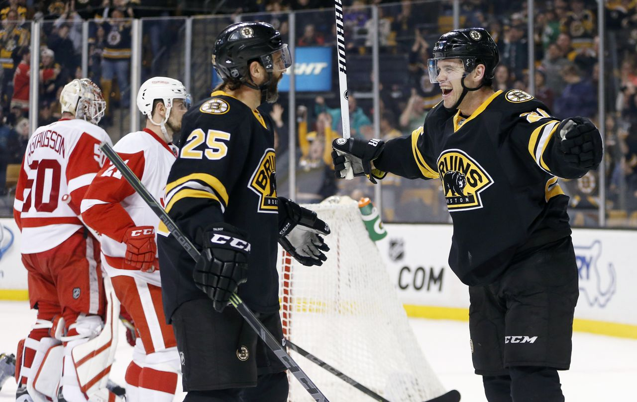 Bruins' Daniel Paille, right, celebrates his second goal of the second period with teammate Max Talbot (25) on Sunday. (AP/Michael Dwyer)