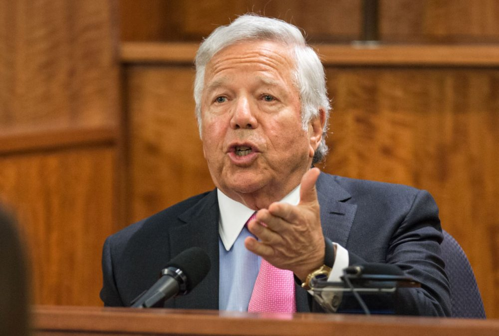 New England Patriots owner Robert Kraft testified Tuesday during the murder trial of former Patriots football player Aaron Hernandez. (Aram Boghosian/The Boston Globe/Pool)