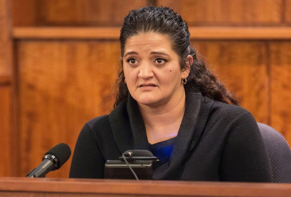 Witness Jennifer Mercado, a cousin of defendant Aaron Hernandez, testifies during his murder trial Tuesday. (The Boston Globe/Aram Boghosian/Pool)