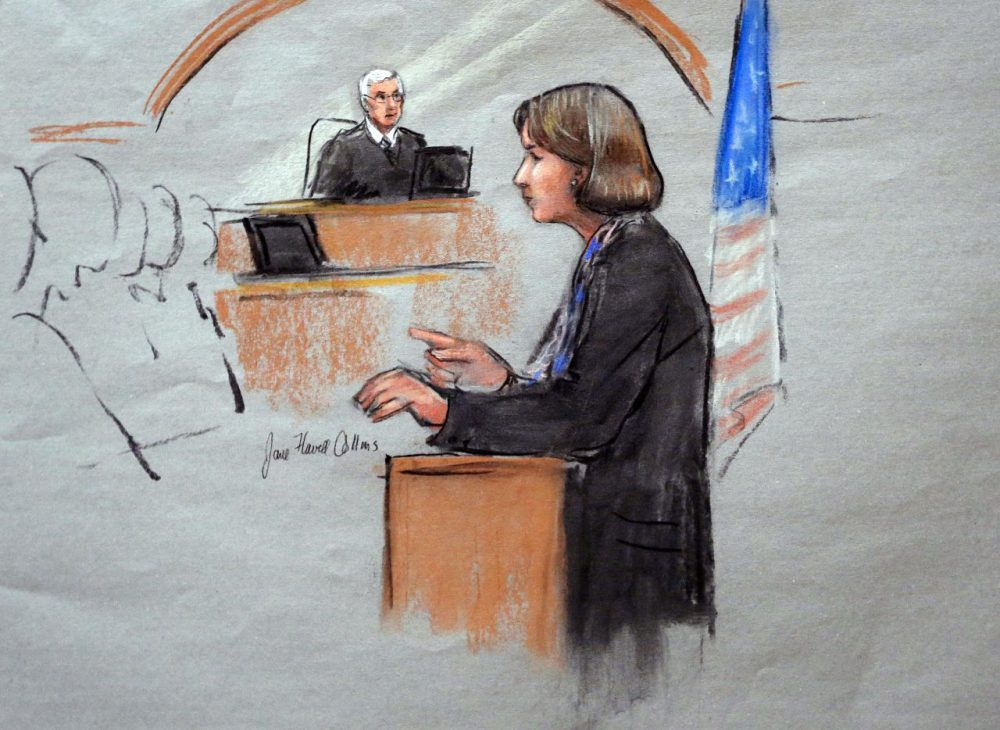 In this courtroom sketch, defense attorney Judy Clarke is depicted delivering opening statements on the first day of the federal death penalty trial of Boston Marathon bombing suspect Dzhokhar Tsarnaev. (Jane Flavell Collins/AP)