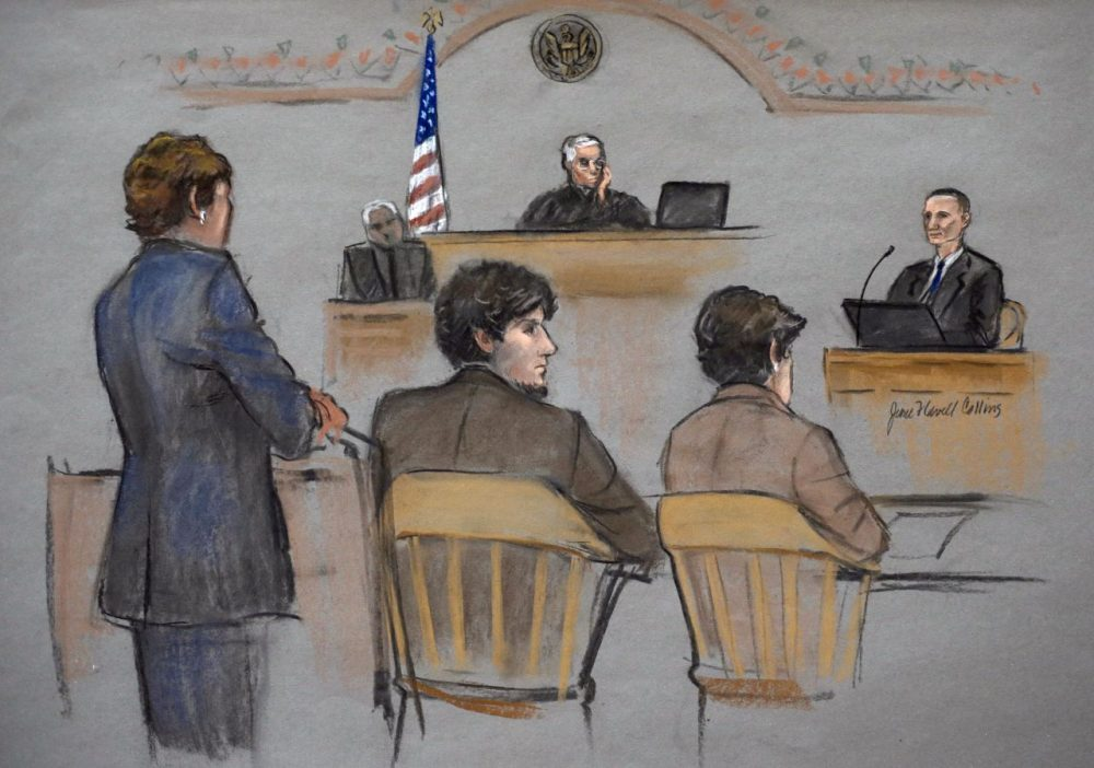 In this courtroom sketch, Bill Richard, right, whose son was killed in the Boston Marathon bombing, testifies during the federal death penalty trial of Dzhokhar Tsarnaev, second from left. (Jane Flavell Collins/AP)