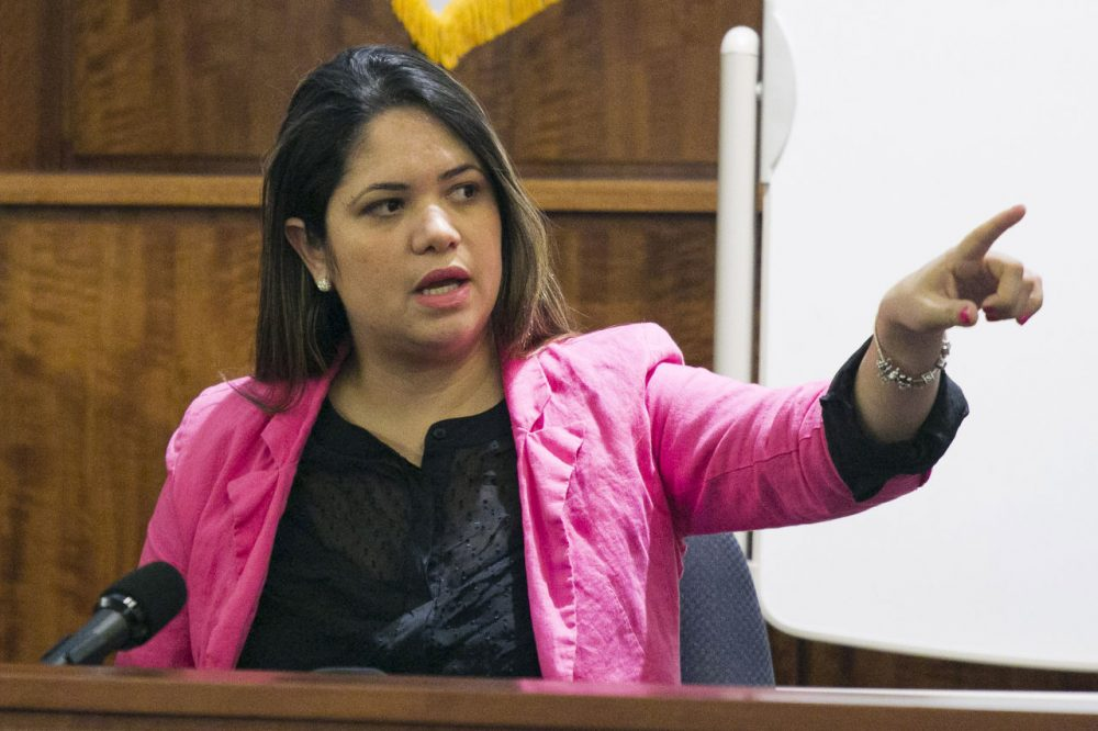 Glaucia Santos testifies Tuesday during the murder trial of former New England Patriots football player Aaron Hernandez. (Dominick Reuter/AP)