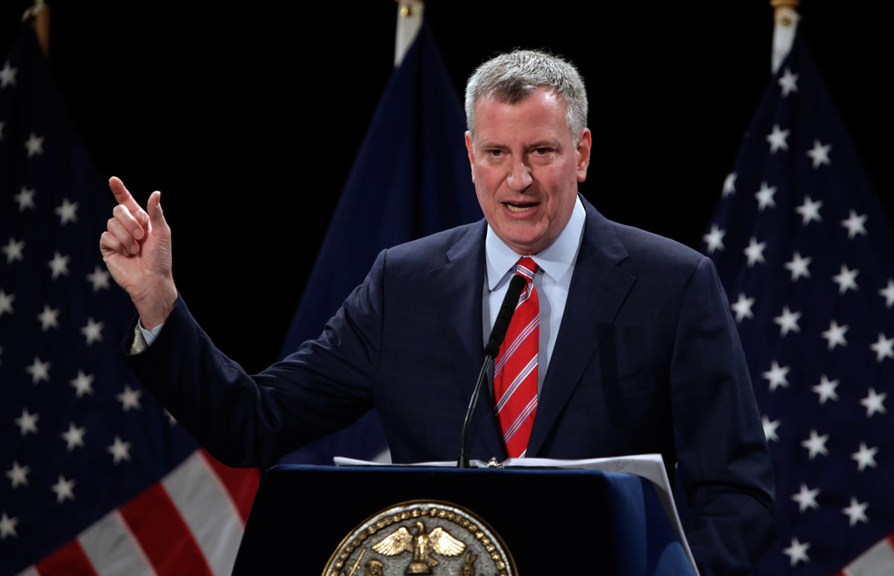 New York Mayor Bill Bill de Blasio delivers his State of the City address at Baruch College, in New York, Tuesday, Feb. 3, 2015.  (Richard Drew/AP)