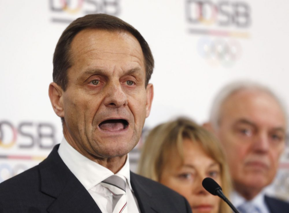 Alfons Hoermann, president of the German Olympic Sports Confederation, makes a statement to the media after a meeting in Frankfurt, Germany, Monday, announcing the selection of Hamburg over Berlin to bid for the 2024 Olympics. (Michael Probst/AP)