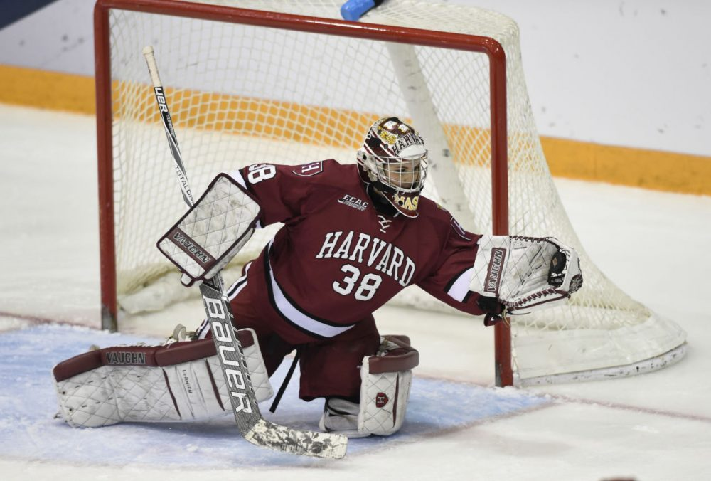 Harvard goalie Emerance Maschmeyer (38) grabs the puck against Boston College during the NCAA women's Frozen Four semifinal college hockey game Friday, March 20, 2015, in Minneapolis. Harvard won 2-1. (Hannah Foslien/AP)
