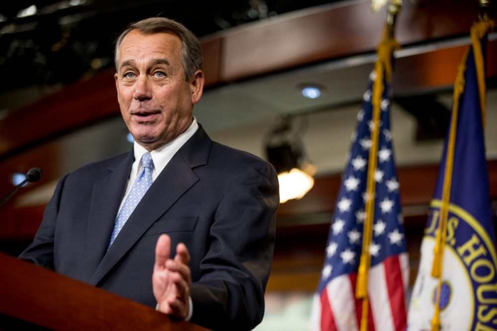 House Speaker John Boehner speaks to members of the media during his weekly news conference on Capitol Hill Thursday. (Andrew Harnik/AP)