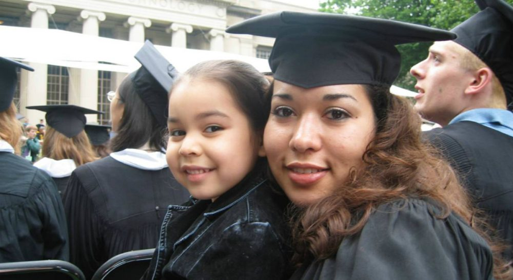 With her daughter in tow, the author graduates from MIT in 2003. Cadena earned two more degrees from MIT: an MBA from the Sloan School of Management and a masters in mechanical engineering. (Noramay Cadena/Courtesy)