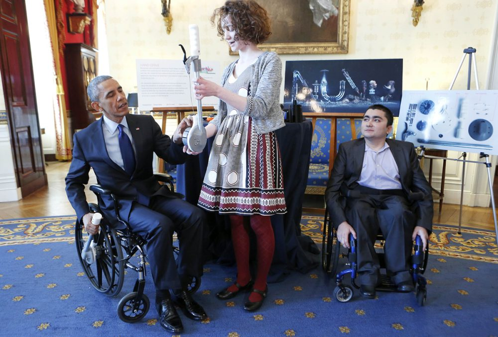 Kate and Sayed presented their inventions at the White House science fair on Tuesday. (Pool photo via Getty Images)