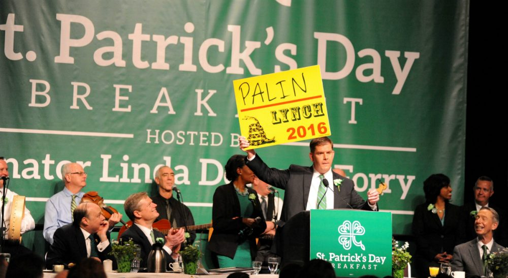 "Jimmy Tingle: ""How often do elected officials, working in the fishbowl of public life, get to publicly enjoy themselves in the company of their peers and constituents?"" Pictured: Boston Mayor Martin Walsh was among local, state and federal officials to celebrate the annual St. Patrick's Day Breakfast on March 15, 2015, hosted by Senator Linda Dorcena Forry, at the Boston Convention and Exhibition Center in South Boston. (City of Boston Mayor's Office/flickr)"