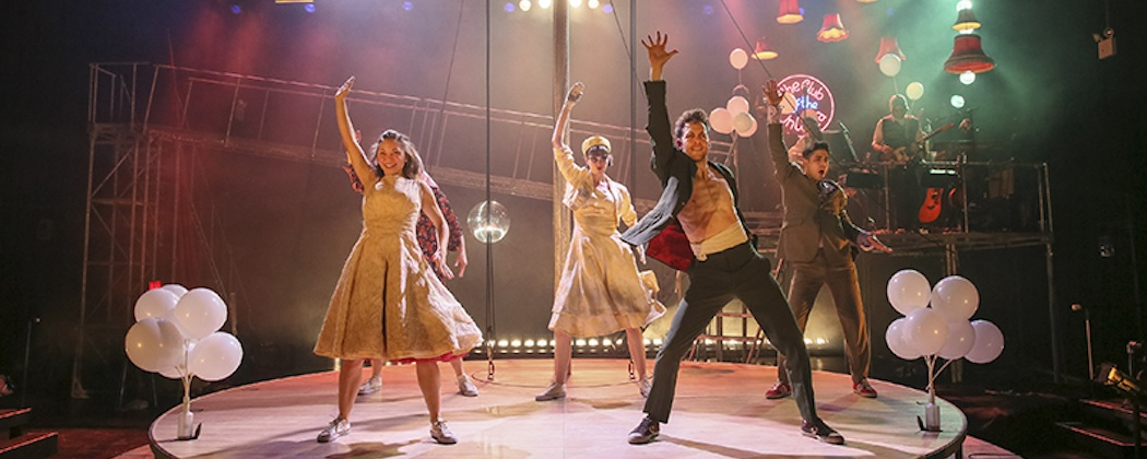 """Hannah Vassallo (Yseult), Kirsty Woodward (Whitehands), Dominic Marsh (Tristan) and Damon Daunno (Frocin) in Kneehigh's """"Tristan y Yseult"""" at the Cutler Majestic Theatre. (Richard Termine)"""