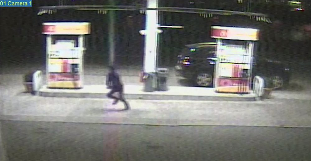Dun Meng decided to make his escape after Tamerlan Tsarnaev pulled into a gas station and Dzhokhar Tsarnaev went inside to pay. Here he is pictured running from his car. (Department of Justice)