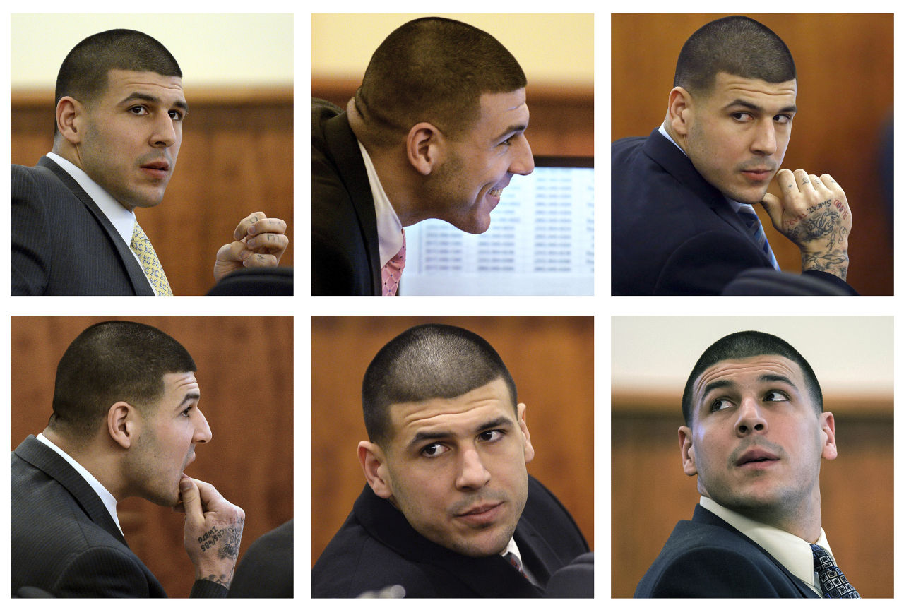 In this panel of 2015 file photos, former New England Patriots player Aaron Hernandez sits in court during his murder trial. He still flashes swagger and a smile during his trial, especially on days when his relatives attend. (AP)