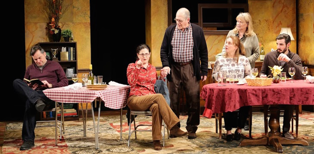 """Bill Mootos, Sarah Newhouse, Joel Colodner, Laura Latreille, Karen MacDonald, and Paul Melendy in Stoneham Theatre's production of  """"That Hopey Changey Thing"""" (Courtesy, Mark S. Howard)"""