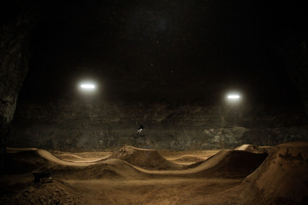 A former limestone mine/bomb shelter is now a destination for winter-weary bikers. (Casey Chalmers/Only A Game)