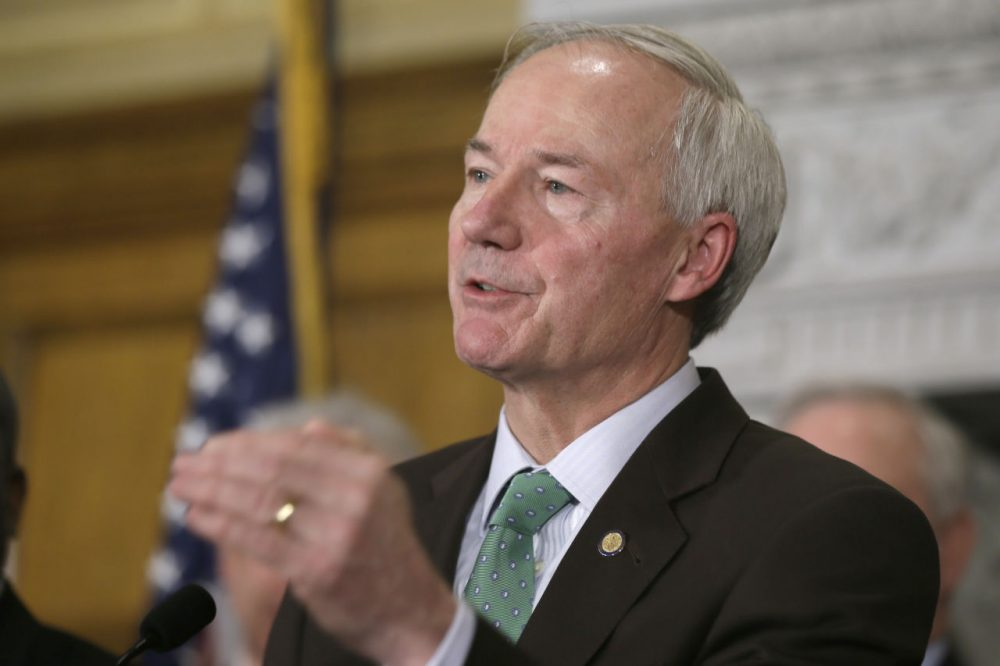 Arkansas Gov. Asa Hutchinson speaks during a news conference at the Arkansas state Capitol in Little Rock, Ark., Tuesday, March 17, 2015. (Danny Johnston/AP)