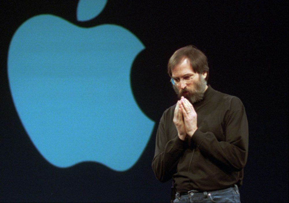 Steve Jobs contemplates an idea during his keynote speech at the opening of MacWorld Expo in San Francisco on Tuesday, Jan. 6, 1997. (Susan Ragan/AP)