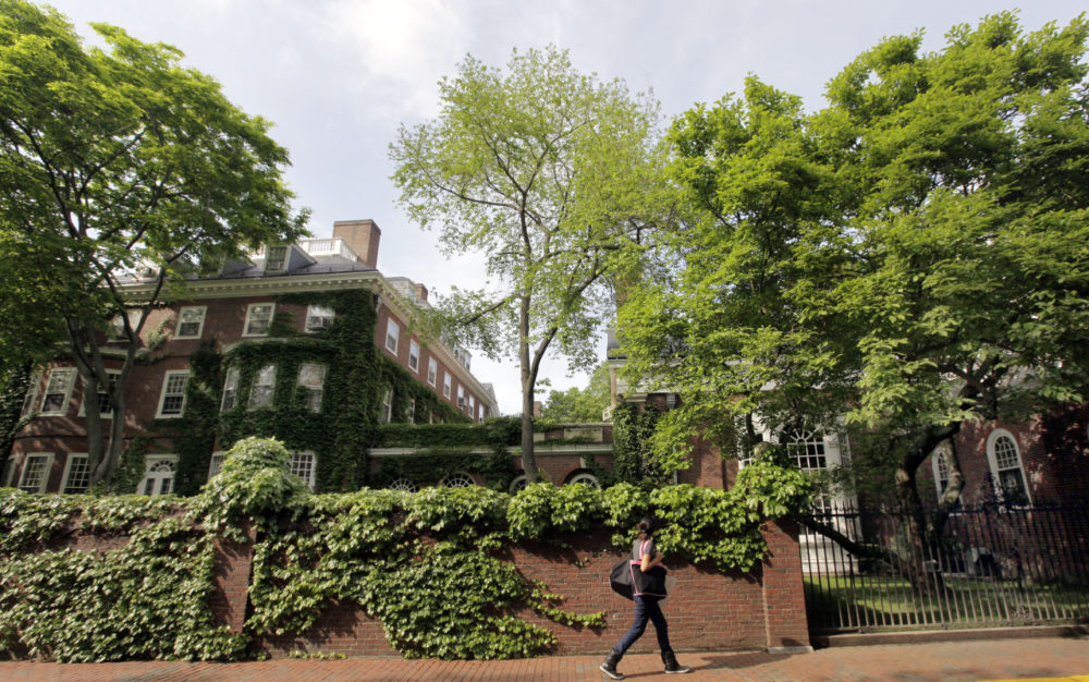 A woman walks by buildings on the campus of Harvard University in Cambridge, Mass. (Elise Amendola/AP)