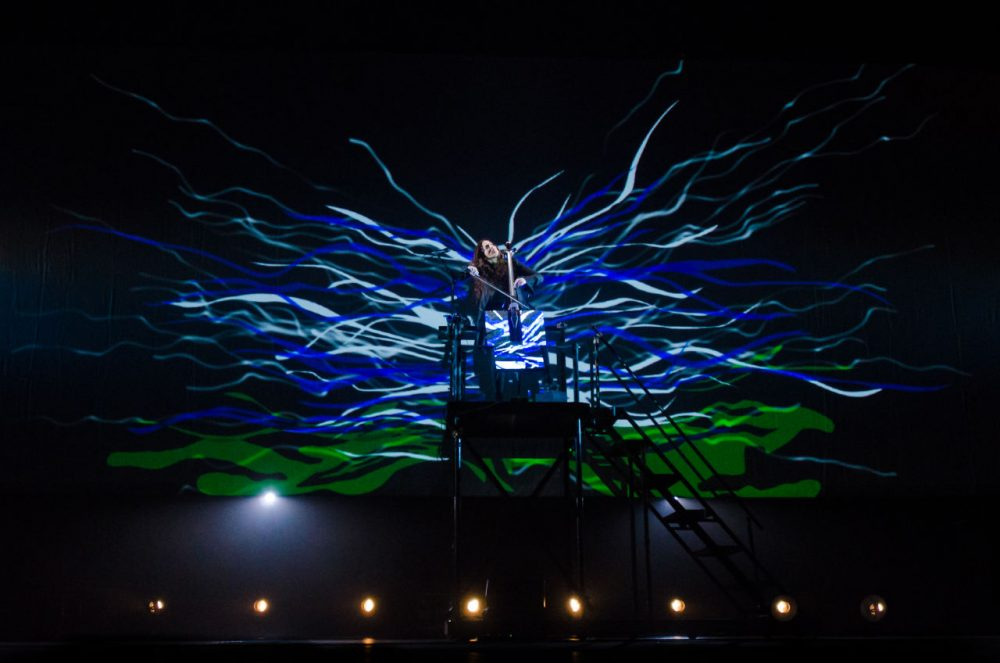 Maya Beiser plays an electric cello enhanced with LED lights. (Jill Steinberg)