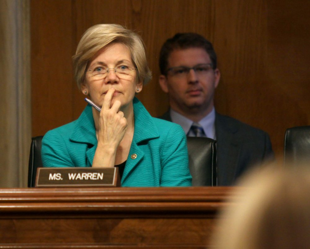 Sen. Elizabeth Warren, D-Mass. listens on Capitol Hill during the Senate Aging Committee hearing to examine older Americans and student loan debt. (Lauren Victoria Burke/AP)
