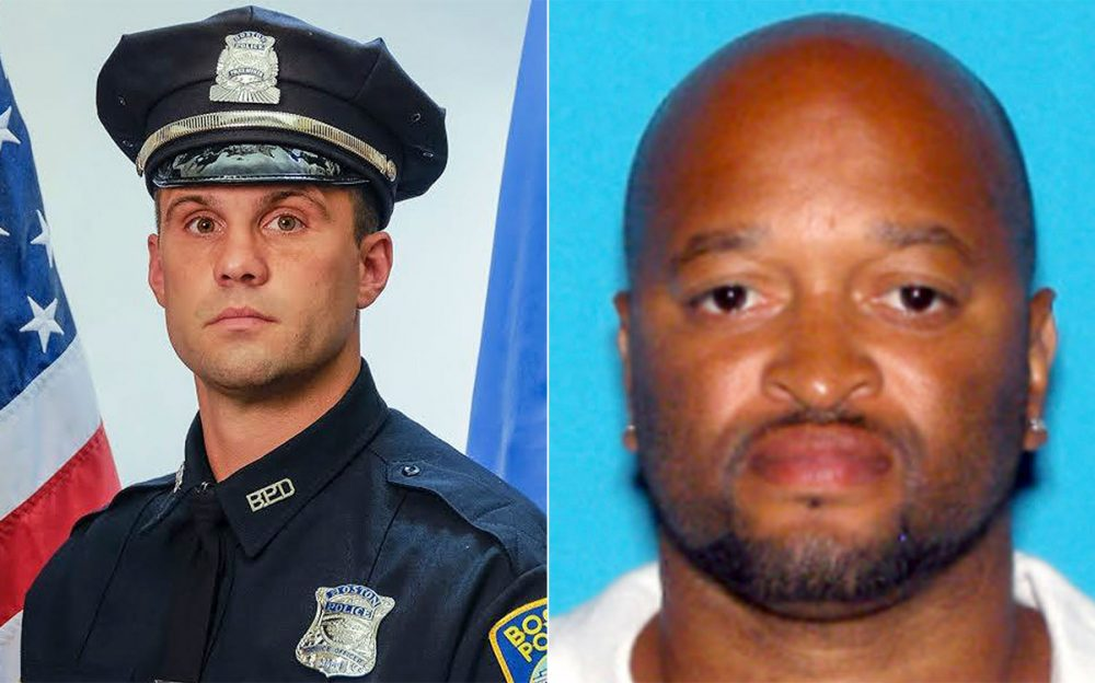 Officer John Moynihan, left, and Angelo West (Boston Police Department)