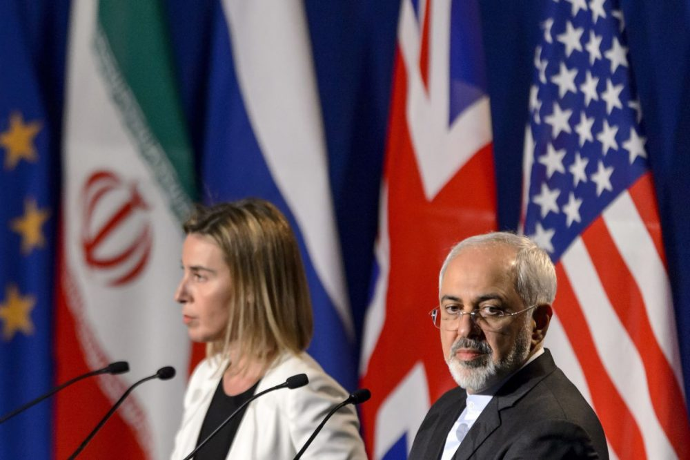 European Union foreign policy chief Federica Mogherini (left) and Iranian Foreign Minister Mohammad Javad Zarif attend the announcement of an agreement on Iran nuclear talks on April 2, 2015 at the The Swiss Federal Institutes of Technology in Lausanne. Iran. (Fabrice Coffrini/AFP/Getty Images)