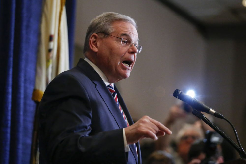 Sen. Robert Menendez (D-NJ) speaks at a press conference on April 1, 2015 in Newark, New Jersey. Menendez has been indicted on federal corruption charges of conspiracy to commit bribery and wire fraud. (Kena Betancur/Getty Images)