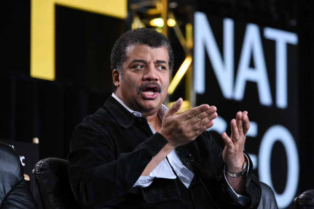 Neil deGrasse Tyson speaks on stage at the National Geographic Channel 2015 Winter TCA in January in Pasadena, Calif. (Richard Shotwell/Invision/AP)
