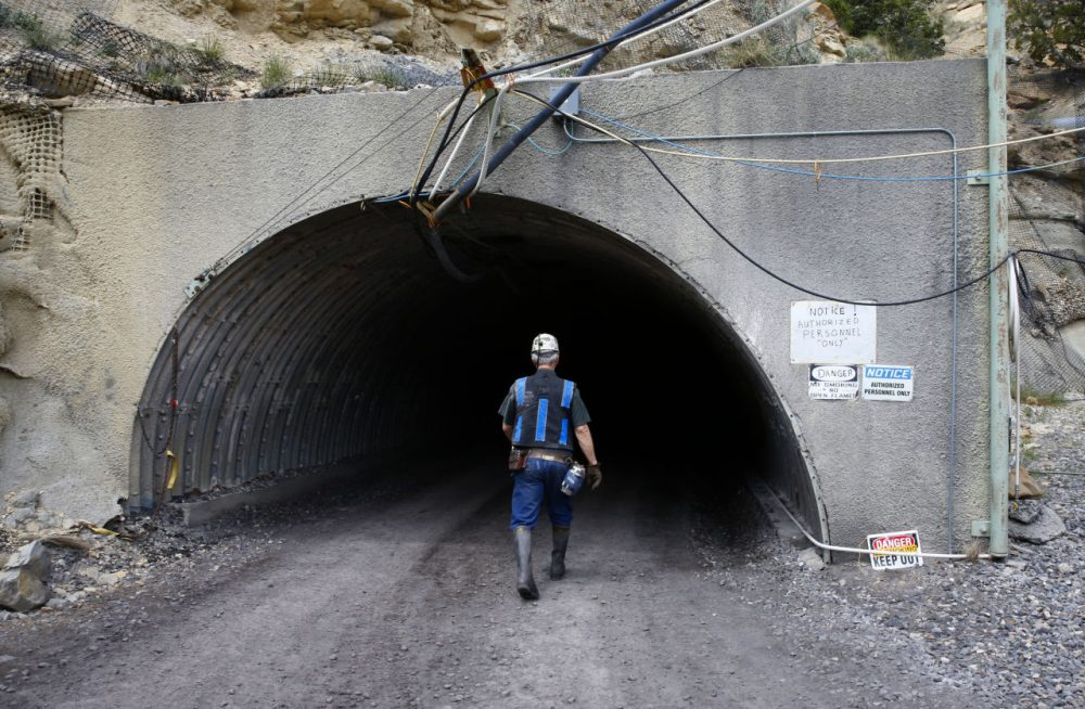 A miner enters an auxiliary entrance at the Sufco Coal Mine, 30 miles east of Salina, Utah on May 28, 2014. (George Frey/Getty Images)