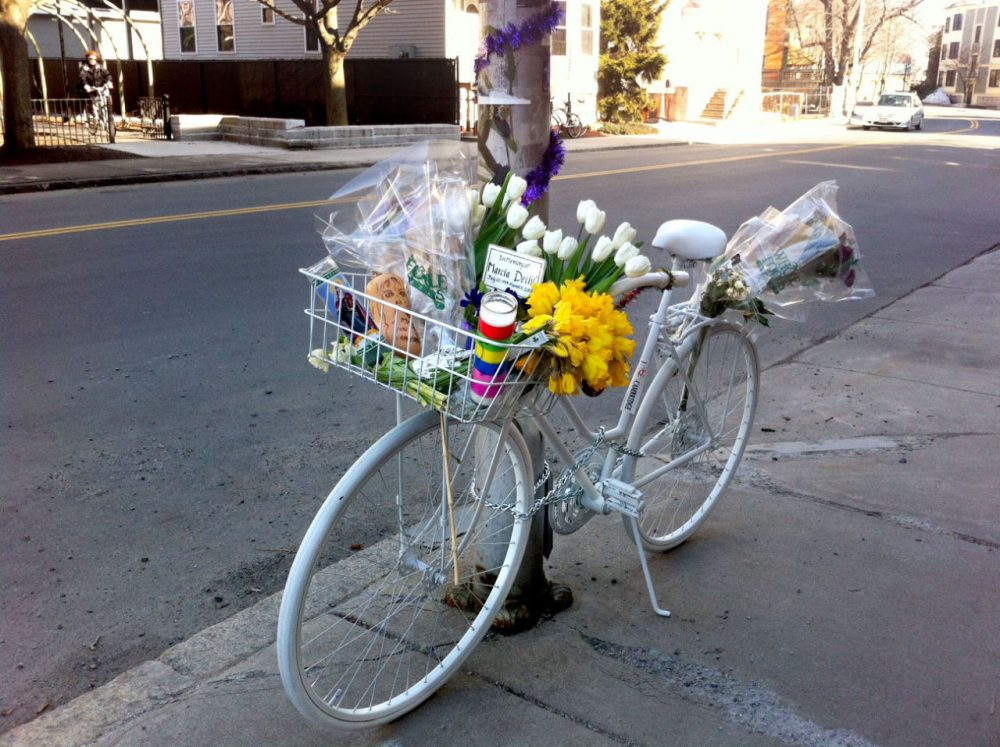 "No destination, no text, no drink, writes Shane Snowdon, is worth knowing that you have killed another human. Pictured: A ""ghost bike"" is placed in memory of Marcia Deihl, who was killed in a crash in Cambridge, Massachusetts, on March 11, 2015. (Rachel Zimmerman/WBUR)"