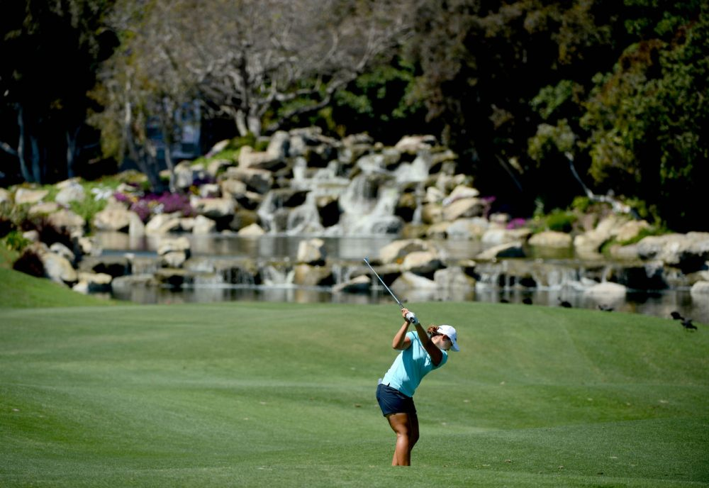 Mirim Lee of South Korea hits her approach shot on the 18th fairway during Round Two of the LPGA KIA Classic at the Aviara Golf Club on March 27, 2015 in Carlsbad, California. (Donald Miralle/Getty Images)