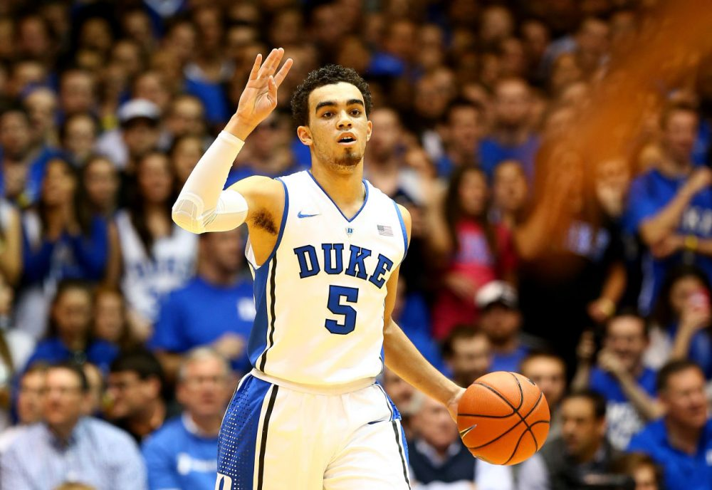 Heading into the Final Four, Duke's Tyus Jones is averaging 11.5 points and 5.5 assists per game in the NCAA tournament. (Streeter Lecka/Getty Images)